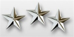 "US Army General Stars:  O-9 Lieutenant General (LTG) - 1"" Individual Stars - Nickel Plated (6 Individual Stars)"