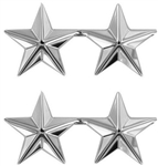 "US Army General Stars:  O-8 Major General (MG) - 1"" - 2 Stars On A Bar - Point To Point  - Nickel Plated - For Collar & Cap"
