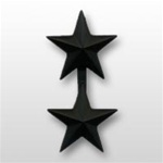 "US Army General Stars:  O-8 Major General (MG) - 1"" - 2 Stars On A Bar - Point To Center - Subdued Metal - For Coat"