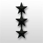 "US Army General Stars:  O-9 Lieutenant General (LTG) - 1"" - 3 Stars On A Bar - Point To Center - Subdued Metal - For Coat"