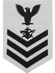 Navy E6 Rating Badge: Special Warfare Boat Operator - white