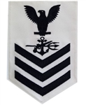 Navy E6 Rating Badge: Special Warfare Operator - white
