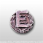 "Attachment:      Silver Letter ""E"" with Wreath - 4 or more Awards - Silver Oxide - For Ribbon or Full Size Medal"