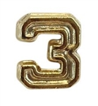 Attachment: Flight Numeral - Gold Finish #3 - For Ribbon, Full Size Medal or Mini Medal