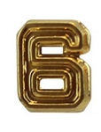 Attachment: Flight Numeral - Gold Finish #6 - For Ribbon, Full Size Medal or Mini Medal