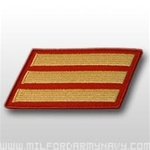 USMC Male Service Stripes - Gold Embroidered on Red: Set Of 3