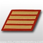 USMC Male Service Stripes - Gold Embroidered on Red: Set Of 4