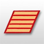 USMC Male Service Stripes - Gold Embroidered on Red: Set Of 5