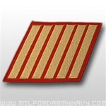 USMC Male Service Stripes - Gold Embroidered on Red: Set Of 6