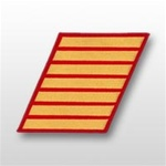 USMC Male Service Stripes - Gold Embroidered on Red: Set Of 7