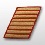 USMC Male Service Stripes - Gold Embroidered on Red: Set Of 8