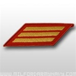 USMC Female Service Stripes - New Issue - Gold Embroidered on Red: Set Of 3