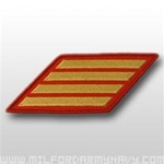 USMC Female Service Stripes - New Issue - Gold Embroidered on Red: Set Of 4