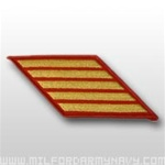 USMC Female Service Stripes - New Issue - Gold Embroidered on Red: Set Of 5