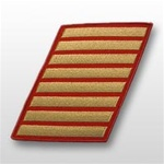 USMC Female Service Stripes - New Issue - Gold Embroidered on Red: Set Of 6