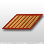 USMC Female Service Stripes - New Issue - Gold Embroidered on Red: Set Of 7