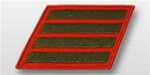 USMC Male Service Stripes - Green Embroidered on Red: Set Of 4
