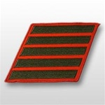 USMC Male Service Stripes - Green Embroidered on Red: Set Of 5