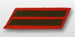 USMC Female Service Stripes - New Issue - Green Embroidered on Red: Set Of 2