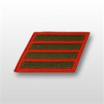 USMC Female Service Stripes - New Issue - Green Embroidered on Red: Set Of 4