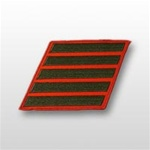 USMC Female Service Stripes - New Issue - Green Embroidered on Red: Set Of 5