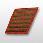 USMC Female Service Stripes - New Issue - Green Embroidered on Red: Set Of 6