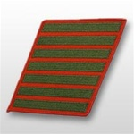USMC Female Service Stripes - New Issue - Green Embroidered on Red: Set Of 7