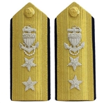 USCG Admiral Hardboards All Bullion:  O-8 Rear Admiral, Upper Half (RADM) - Male