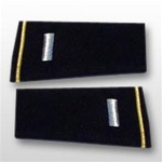 US Army Large Epaulets:  O-2 First Lieutenant (1LT) - Male - For Commando Sweater Or Shirt - Rayon Embroidered