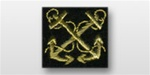 US Navy Warrant Officer Sleeve Device: Boatswain (black background with gold synthetic thread)