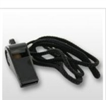 DI Black Plastic Whistle with Cord