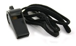 Black Plastic Whistle with Lanyard