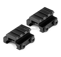 "2 QTY - 1/2"" 3 Slot Low Riser 20mm WEAVER PICATINNY Rifle Base/Scope Mount Rail"