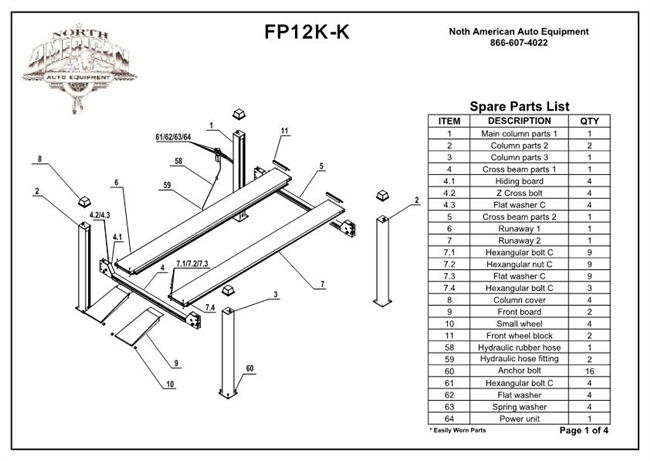 Fp12k k parts breakdown replacement parts for fp12k k 4 post lift fp12k k parts breakdown replacement parts for fp12k k 4 post lift ccuart Images