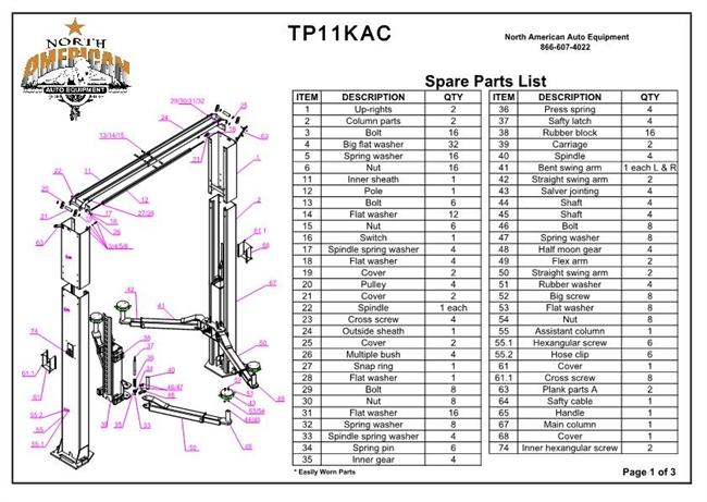 Tp11kac Parts Breakdown Replacement Parts For 11 000lb 2