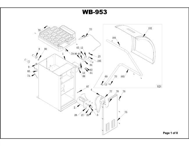 WB-953 Parts Breakdown Diagrams of Wheel Service Equipment
