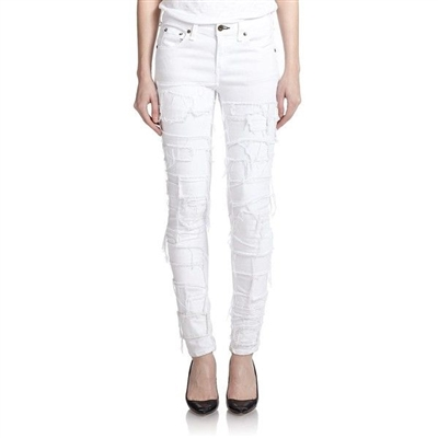 Rag & Bone the pieced skinny jeans in Torn White Distressed