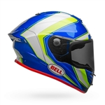 Bell 2017 Race Star Full Face Helmet - Gloss White/Hi-Viz Green/Blue Sector
