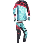 Fly Racing - 2017 Youth Kinetic Crux Combo- Teal/Red