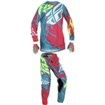 Fly Racing - 2017 Youth Kinetic Relapse Combo- Red/Teal/Hi-Vis
