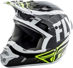 Fly Racing 2018 Youth Kinetic Burnish Full Face Helmet - Black/White/Hi-Vis
