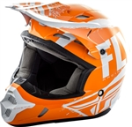 Fly Racing 2018 Youth Kinetic Burnish Full Face Helmet - Orange/White/Grey