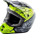 Fly Racing 2018 Youth Kinetic Crux Full Face Helmet - Black/Grey/Hi-Vis
