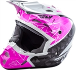 Fly Racing 2018 Youth Kinetic Crux Full Face Helmet - Pink/Black/White