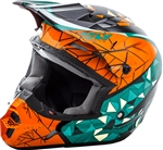 Fly Racing 2018 Youth Kinetic Crux Full Face Helmet - Teal/Orange/Black