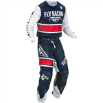 FLY Racing 2018 Youth Kinetic Mesh Combo Jersey Pant - Navy/White/Red