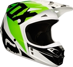 Fox Racing 2018 V1 Race Full Face Helmet - White/Black/Green