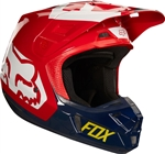 Fox Racing 2017 V2 Preme Full Face Helmet - Navy/Red