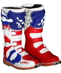 JT Racing 2018 Podium Boots - White/Red/Blue
