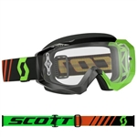 Scott - Hustle MX Clear Lens Goggle- Black/Fluo Green